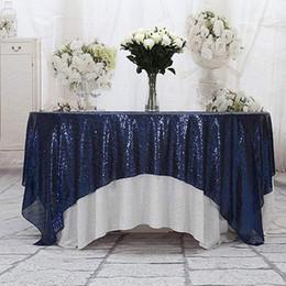 La tavola sovrappone i matrimoni online-Runner 50''x50 '' Square blu navy Sequin Tovaglia con paillettes Sovrapposizioni, Runner, Gatsby Wedding, Glam Wedding Decor, Vintage Weddings