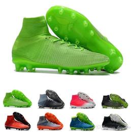 Verde oliva on-line-Chuteiras De Futebol Dos Homens Mercurial Superfly Cr7 Ag Sapatos de Futebol Alta Neymar Grandeza Olive Drab Grama Verde Size39-45