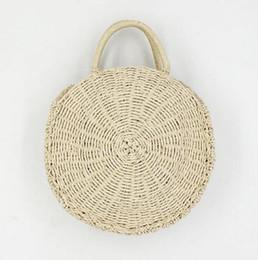 c9a078e71e Chinese Handmade Rattan Weave Round Beach Bag Straw Knit Lady s Handbag  Woman Shoulder Messenger Bag Khaki