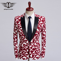 blazers patterns Promo Codes - Plyesxale Brand Mens Slim Fashion Blazers Black Red Geometric Printed Blazer Jacket Unique Pattern Designs Male Stage Wear Q464