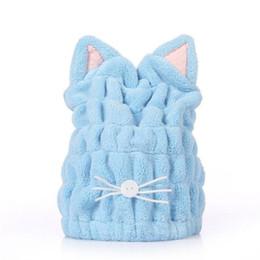 Serviettes de toilette femmes en Ligne-Absorbant super cap mignonne serviette magie femmes salle de bains cheveux secs chat oreille oreille corail polaire
