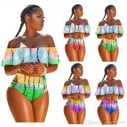 Banho de gradiente on-line-Mulheres Tie-dye Flounce Maiô Strapless Bikini Moda Top + Hipster Swimwear Cor Gradiente Off Ombro Falbala Ruffle Swimsuits