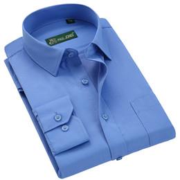 Ropa casual de oficina hombres online-Camisa formal del vestido de la manga PAULJONES clásico de alta calidad a largo camisas de los hombres de negocios Hombre Camisa Casual Social Oficina de Trabajo de desgaste