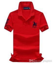 Shirt marken china online-2018 100% Baumwolle China Brand Small Horse POLOS Herrenmode Sommer Kurzarm POLO Shirt lässig Herren Designer POLOS Rot Farbe TOPS