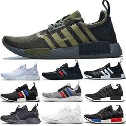 NMD R1 impulso Homens Mulheres Running Shoes Olive Oreo Atmos Tri Color OG France Designer Original Mastermind Japan Sports instrutor Sneakers