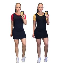 Diseñador de las mujeres falda por encima de la rodilla manga corta vestido de una pieza vestido flaco de alta calidad sexy elegante moda de lujo falda klw0870 desde fabricantes