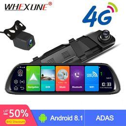 2019 gps android trasero WHEXUNE 4G Android Coche DVR 10 Stream Espejo retrovisor FHD 1080P ADAS Dash Cam Cámara Grabadora de video Registrador automático Dashcam GPS rebajas gps android trasero