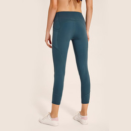Argentina LU-27 mujeres de cintura alta Atheltics yoga legging Tight Side Pocket Deportes Elásticos Fitness Leggings Slim Running Gimnasio Pantalones cheap yoga pants slim Suministro