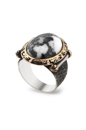 Кольца зебры онлайн-Кольца Chavin Zebra с рисунком из серебра