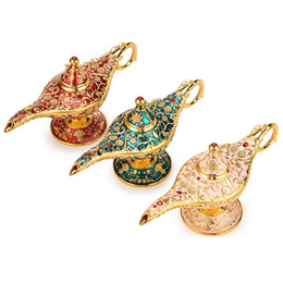 Regalos de aladdin online-Coleccionable Rare Legend Aladdin Magic Genie Lámpara de Luz Quemadores de Incienso Pot Classic Perfect Festival Regalo Deseando lámpara Decoración para el hogar