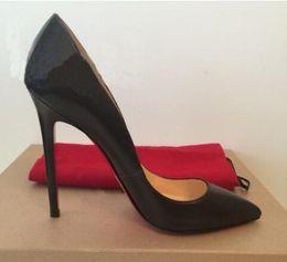 Marca Mujer Bombas Zapatos Mujer Fondo rojo Tacones altos Bombas Stilettos Zapatos negro mate Líneas de piel de oveja Zapatos de boda para mujer 8 cm 10 cm 12 cm + caja desde fabricantes