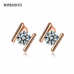 small stud design Promo Codes - Rose Gold Color Small H Letter Design Clear Zirconia Studded Women Stud Earrings Wholesale Fashion Accessories