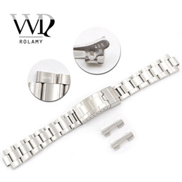 2019 elenca le mele Rolamy 20mm Stainless Steel Links Hollow Curved End Deployment Glide Lock Chiusura Bracciale spazzolato per VINTAGE Oyster 70216 455B