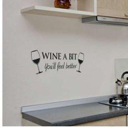 Décalques de citation de cuisine en Ligne-Vin Un Bit Vinyle Mur Art Citation Wall Sticker Chambre Cuisine Amovible Décor Murale Stickers QB838493