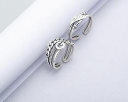 Plata de ley antigua online-Diseñador a estrenar 925 anillos de plata esterlina joyería vintage estilo americano plata antigua hecha a mano diseñador banda gruesa anillos regalo para hombre