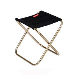 Fezes portátil ao ar livre on-line-Tamborete Cadeira Dobrável Ao Ar Livre Cadeira De Pesca Da Liga de Alumínio Portátil Caminhadas ao ar livre encosto Ultraleve Barbecue Stool