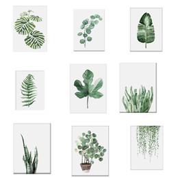 Canada 1 Pc Aquarelle Plante Tropicale feuilles Toile Art Print Affiche Nordic Plante Verte feuille rurale Mur Photos pour La Décoration Intérieur Nouveau Offre