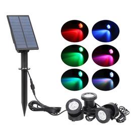 Iluminación sumergible led para estanques online-Luz solar a prueba de agua IP68 Lámpara LED RGB del punto de luz bajo el agua Para la luz sumergible Pond Piscina Fuentes de agua de estanque de jardín acuario