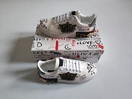 Samtkautschuk online-Modeschöpfer schuhe mann frauen leder portofino sneakers samt stich patch gummisohle italien casual dress schuhe größe mit box 35-46