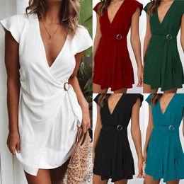 модная коллекция одежды Скидка Новая женская мода Solid Dress V шеи Sexy Waist Collection Мини-платье с поясом