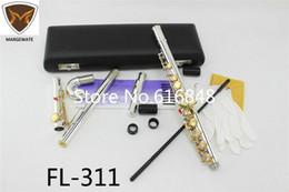 FL-311 стандартный серебряный корпус золотой ключ c Мелодия флейта с небольшим локтем изогнутая головка 16 17 ключевых отверстий открытый закрытый флейта инструмент Flauta от