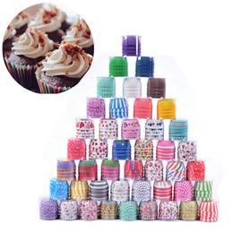 recipientes de sobremesa atacado Desconto 100 pçs / lote colorido bolo de papel forro do queque forro de cozimento muffin cups case bandeja do partido ferramentas de decoração do molde do queque da cozinha do bolo de papel