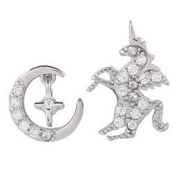 Canada Boucles d'oreille AB Licorne Moon en argent 925, design simple et asymétrique, sens, boucles d'oreilles fille étudiante Offre