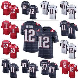 Nuevos Patriots 12 Tom Brady 87 Rob Gronkowski Jersey de los hombres Hombres # 11 Julian Edelman Patriots para mujer juvenil camisetas de fútbol cosidas desde fabricantes