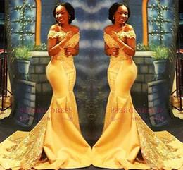 gelbe nigerianische spitze Rabatt Afrikanische nigerianische gelbe Meerjungfrau Abschlussballkleider 2018 aus den Schultern schnüren Pailletten Satin Abendkleid arabische Kleider