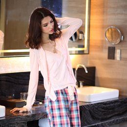 e2fcaa551e Spring 100% cotton 3-piece suits pyjamas women cozy Long sleeve pajamas sets  simple sexy sleepwear pajamas for women Hot sale