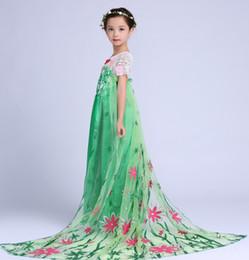 Disfraces Vestido De La Etapa Del Vestido Muchachas De Los Cabritos Congelado Diamante Del Acoplamiento Del Cordón De La Princesa Fiesta De Navidad