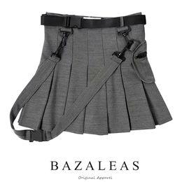 Saia moda harajuku on-line-Bazaleas Moda Saias Plissadas Mulheres Saias Sexy harajuku Curto Casuais Cinza Caixilhos Do Punk Mini Saia Do Vintage