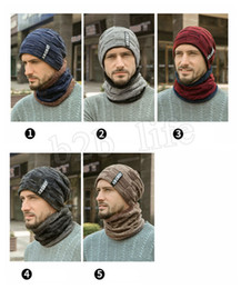 Schal für männer online-wärmen Knitting Hut Schal Set Men Solid Color Cap Schals Male Winter Outdoor Accessoires Kappen Schal 2ST LJJM2368 warm