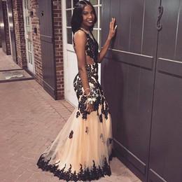 traje de ceremonia Rebajas Champagne Vestidos de baile con apliques de encaje negro Sirena Vestidos de fiesta largos Sin espalda Hasta el suelo túnica de tul femme ceremonie