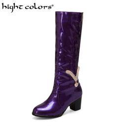 Sexy rhinestone áspero con botas de caballero botas altas de charol morado tallas grandes 43 44 45 46 47 48 Moda Mujer Zapatos altos desde fabricantes