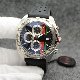 2019 correa de reloj verde rojo Tagheur Outdoor 49MM Cronógrafo de cuarzo Reloj para hombre magnífico Reloj grande Negro / Rojo / Verde Dial con banda de goma negra de alto grado correa de reloj verde rojo baratos