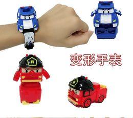 diapositivas de plástico para niños Rebajas Coreano Q versión transformada electrónico Deformable reloj juguete Taiwán dibujos animados niños transformados coche de policía juguete rel