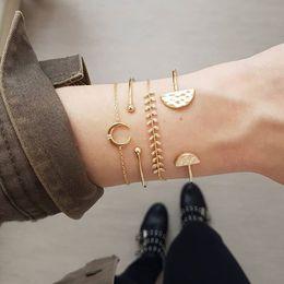 mondcharme armband Rabatt GIVVLLRY Gold Geometrische Stulpearmbänder für Frauen Vintage Blattgold Kette New Moon Charm Armbänder Set Mode Böhmischen Schmuck