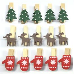 Pinces en bois en Ligne-Clip de Noël en bois de bande dessinée Mini Elk Reindeer Gants Forme Pince Resuable Eco Friendly Mémo DIY Clips Usine Directe Titulaire Photo WX9-1158
