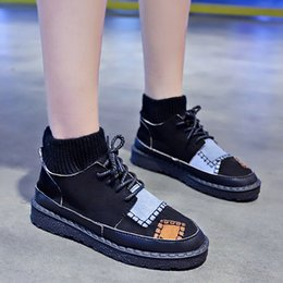 mischen sie spielschuhe Rabatt Mischfarben Kleine weiße Schuhe runde Zehe All-Match Casual Weibliche Sneakers Clogs Platform 2019 Mode Damen Herbst