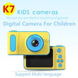 telecamere a zoom lungo Sconti Camera K7 12MP ricaricabile Mini Bambini Bambini Camcorder con funzione di 2 pollici schermo COMS Photo Video Support Fliter fai da te Digital Camera Chid