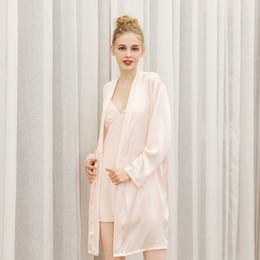 9ed7ac6a48 Sexy Cardigan Accappatoio Simulazione Silk Home Pigiama Stampa sottile con camicia  da notte a maniche lunghe in vendita