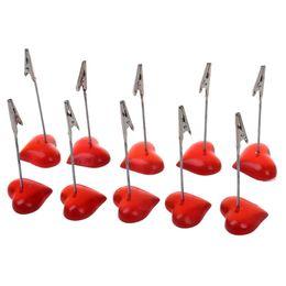 10 x Memo Holder Red Heart-shaped Resin Base Photo Blank Nota Memo Clip Tree Display da