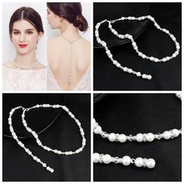 qualidade da pérola aaa Desconto Colar de noiva pérola para trás colares de casamento jóias de strass diamante de prata frisado colares acessórios de noiva