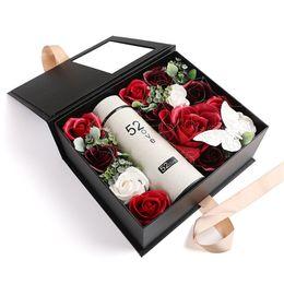 Свадебные букеты онлайн-Home Wedding Soap Rose Flower Set Bouquet Cup+gift Box Valentine's Day Artificial Birthday Romantic Christmas Floral Decoration