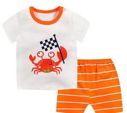 2019 New Summer Style enfants Crab et Fox Animal Patterns Short à manches courtes costume deux pièces de mode garçon section mince coton porter costume ? partir de fabricateur