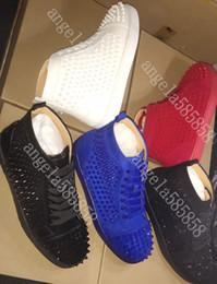 leopardo impressão flats apontou dedo Desconto 2019 New Designer inferior é sapato de luxo Red Studded Spikes Flats para amantes de Mulheres do Partido dos homens couro genuíno calçados casuais das sapatilhas 35-47