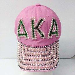 Gorros de beisbol perlas online-Conjuntos de joyas de moda griega Sorority También conocido como shinny perla gorra de béisbol de encargo caliente venta Sombrero