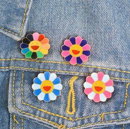 smile badges Desconto Takashi Murakami japonês Broche de Óleo de Gotejamento de Sete Cores de Metal Rosto Sorridente Pinos de Lapela Emblema Dos Desenhos Animados Jóias Para Criança