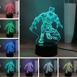 Marvel 3d lights en Ligne-2019 Cool Marvel Hero Combat Noir Panthère 3D 7 Changement de Couleur LED Contrôleur Nuit Lampe Enfants Garçons Fans Homme Des Vacances USB Bébé Sommeil Lumière